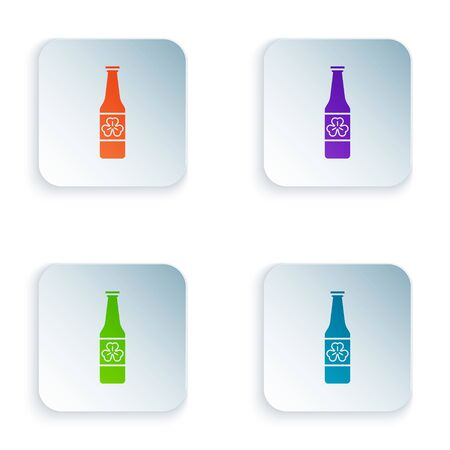 Color Beer bottle with four leaf clover icon isolated on white background. Happy Saint Patricks day. Set icons in colorful square buttons. Vector Illustration