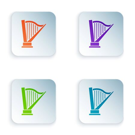Color Harp icon isolated on white background. Classical music instrument, orhestra string acoustic element. Set icons in colorful square buttons. Vector Illustration Çizim