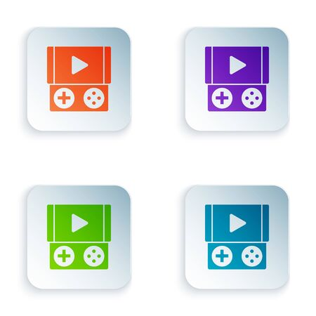 Color Portable video game console icon isolated on white background. Gamepad sign. Gaming concept. Set icons in colorful square buttons. Vector Illustration Illustration