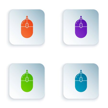 Color Computer mouse icon isolated on white background. Optical with wheel symbol. Set icons in colorful square buttons. Vector Illustration Ilustracja
