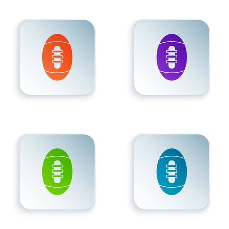 Color American Football ball icon isolated on white background. Rugby ball icon. Team sport game symbol. Set icons in colorful square buttons. Vector Illustration 일러스트