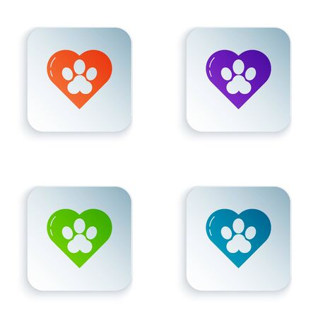 Color Heart with animals footprint icon isolated on white background. Pet paw in heart. Love to the animals. Set icons in colorful square buttons. Vector Illustration Çizim