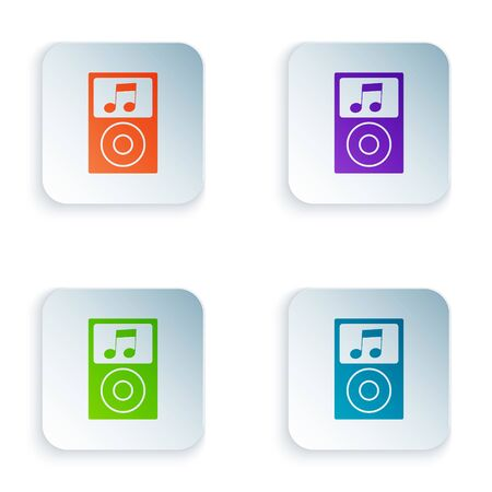 Color Music player icon isolated on white background. Portable music device. Set icons in colorful square buttons. Vector Illustration