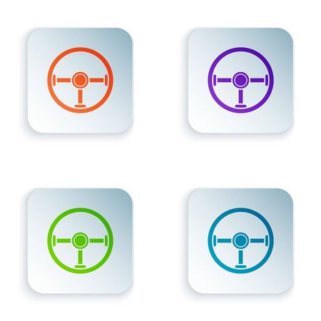 Color Steering wheel icon isolated on white background. Car wheel icon. Set icons in colorful square buttons. Vector Illustration Çizim