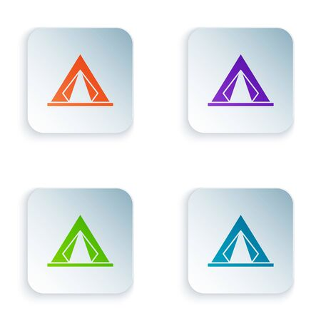 Color Tourist tent icon isolated on white background. Camping symbol. Set icons in colorful square buttons. Vector Illustration