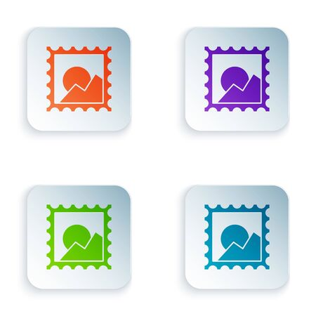 Color Picture landscape icon isolated on white background. Set icons in colorful square buttons. Vector Illustration