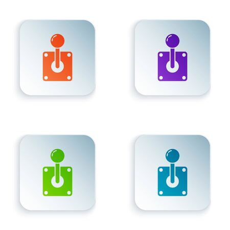 Color Joystick for arcade machine icon isolated on white background. Joystick gamepad. Set icons in colorful square buttons. Vector Illustration Illustration