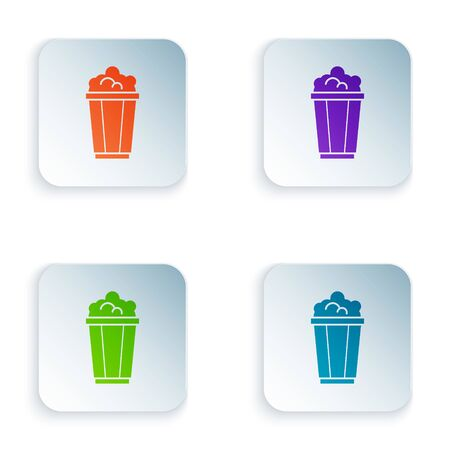 Color Popcorn in cardboard box icon isolated on white background. Popcorn bucket box. Set icons in colorful square buttons. Vector Illustration