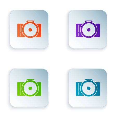 Color Photo camera icon isolated on white background. Foto camera icon. Set icons in colorful square buttons. Vector Illustration Çizim