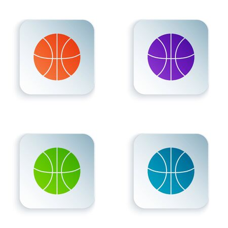 Color Basketball ball icon isolated on white background. Sport symbol. Set icons in colorful square buttons. Vector Illustration 일러스트