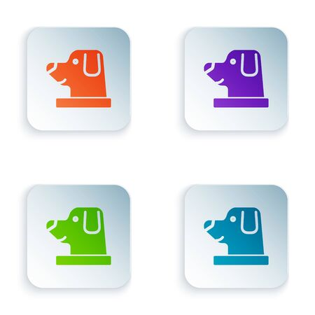 Color Dog in astronaut helmet icon isolated on white background. Set icons in square buttons. Vector Illustration