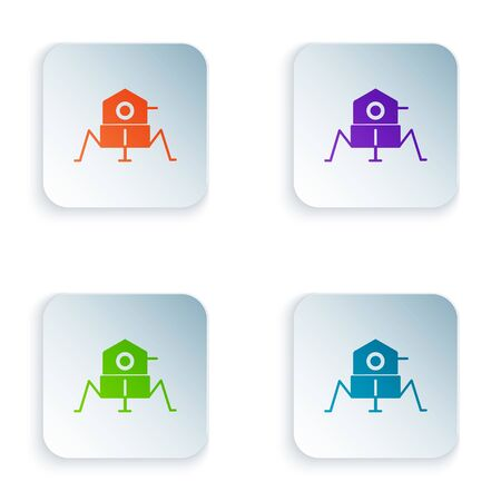 Color Mars vehicle icon isolated on white background. Space vehicle. Moonwalker sign. Apparatus for studying planets surface. Set icons in square buttons. Vector Illustration