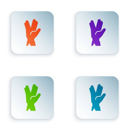 Color Vulcan salute icon isolated on white background. Hand with vulcan greet. Spock symbol. Set icons in square buttons. Vector Illustration Иллюстрация
