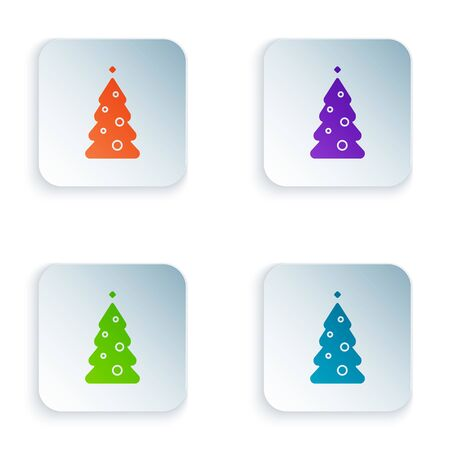 Color Christmas tree with decorations icon isolated on white background. Merry Christmas and Happy New Year. Set icons in square buttons. Vector Illustration