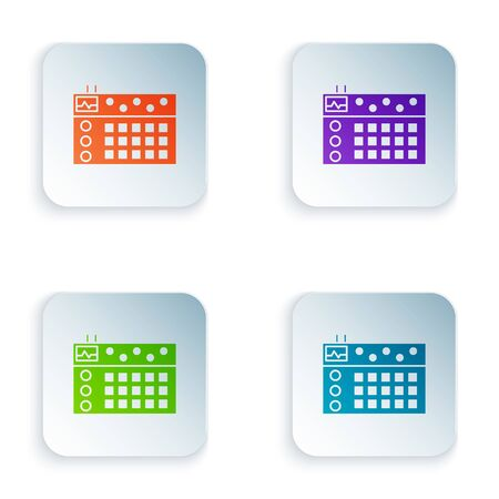 Color Drum machine icon isolated on white background. Musical equipment. Set icons in square buttons. Vector Illustration