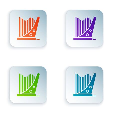 Color Harp icon isolated on white background. Classical music instrument, orhestra string acoustic element. Set icons in square buttons. Vector Illustration  イラスト・ベクター素材