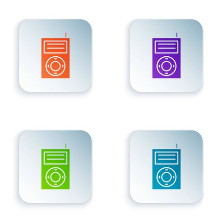Color Music MP3 player icon isolated on white background. Portable music device. Set icons in square buttons. Vector Illustration Stock Vector - 134982100