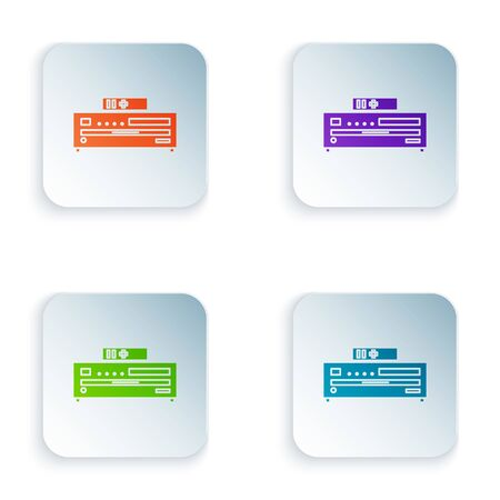 Color Music CD player icon isolated on white background. Portable music device. Set icons in square buttons. Vector Illustration