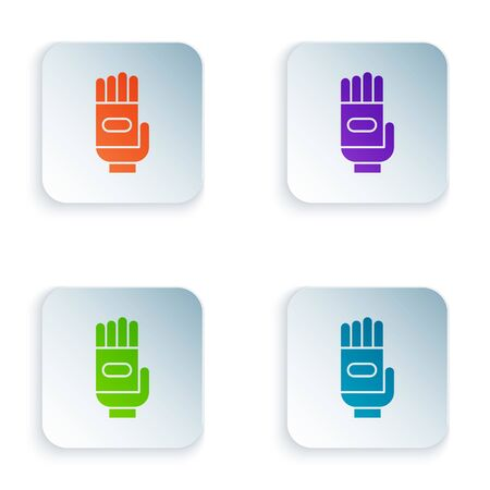 Color Garden gloves icon isolated on white background. Rubber gauntlets sign. Farming hand protection, gloves safety. Set icons in square buttons. Vector Illustration