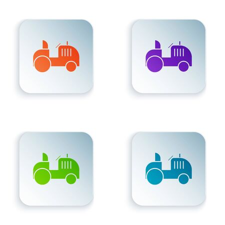 Color Tractor icon isolated on white background. Set icons in square buttons. Vector Illustration