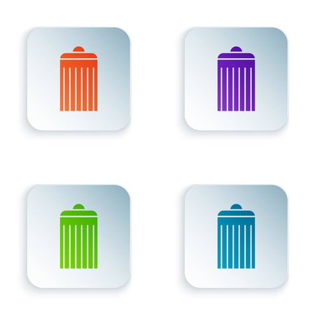 Color Trash can icon isolated on white background. Garbage bin sign. Recycle basket icon. Office trash icon. Set icons in square buttons. Vector Illustration