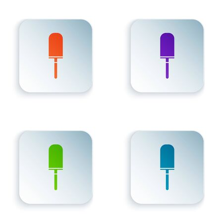Color Garden trowel spade or shovel icon isolated on white background. Gardening tool. Tool for horticulture, agriculture, farming. Set icons in square buttons. Vector Illustration Ilustrace