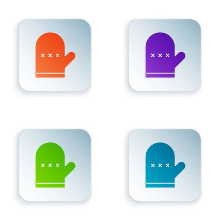 Color Oven glove icon isolated on white background. Kitchen potholder sign. Cooking glove. Set icons in square buttons. Vector Illustration