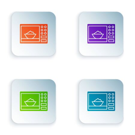 Color Microwave oven icon isolated on white background. Home appliances icon. Set icons in square buttons. Vector Illustration Çizim