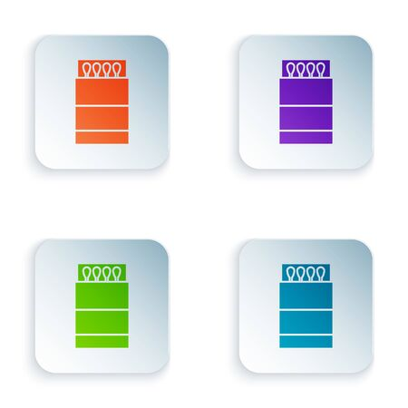 Color Open matchbox and matches icon isolated on white background. Set icons in square buttons. Vector Illustration