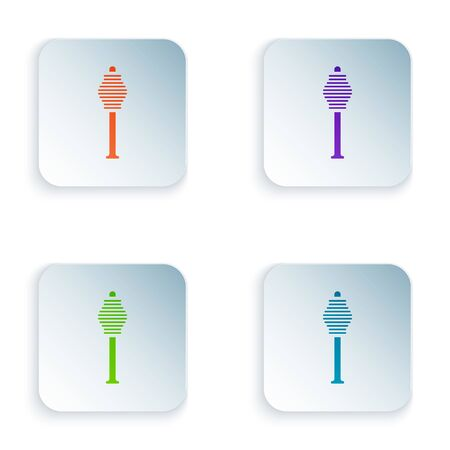 Color Honey dipper stick icon isolated on white background. Honey ladle. Set icons in square buttons. Vector Illustration