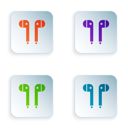 Color Air headphones icon icon isolated on white background. Holder wireless in case earphones garniture electronic gadget. Set icons in square buttons. Vector Illustration
