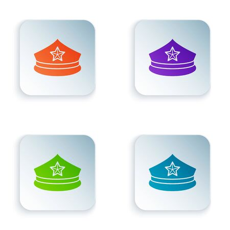 Color Police cap with cockade icon isolated on white background. Police hat sign. Set icons in square buttons. Vector Illustration Ilustrace