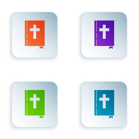 Color Holy bible book icon isolated on white background. Set icons in square buttons. Vector Illustration