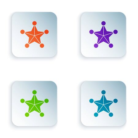 Color Hexagram sheriff icon isolated on white background. Police badge icon. Set icons in square buttons. Vector Illustration