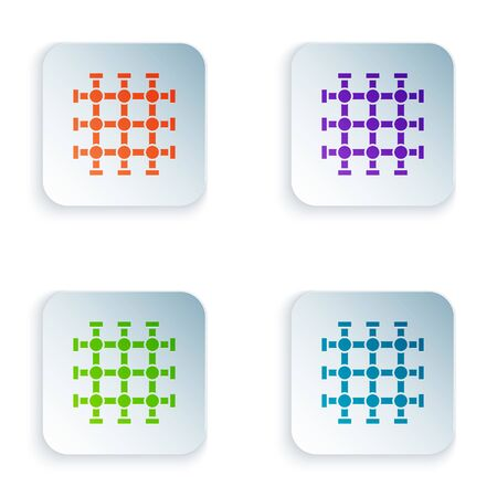 Color Prison window icon isolated on white background. Set icons in square buttons. Vector Illustration