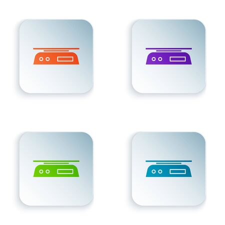 Color Electronic scales icon isolated on white background. Weight measure equipment. Set icons in square buttons. Vector Illustration