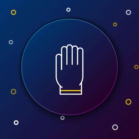 White and yellow line Garden gloves icon isolated on dark blue background. Rubber gauntlets sign. Farming hand protection, gloves safety. Colorful outline concept. Vector Illustration