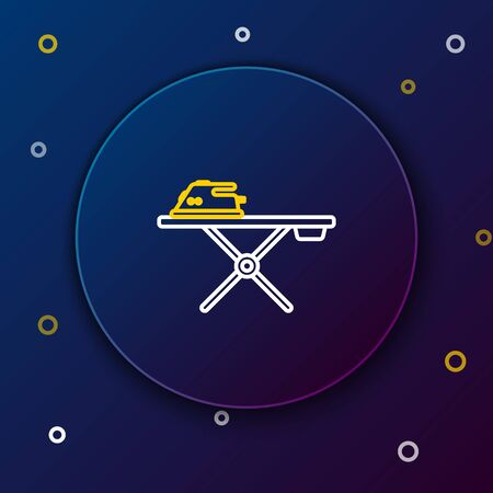 White and yellow line Electric iron and ironing board icon isolated on dark blue background. Steam iron. Colorful outline concept. Vector Illustration