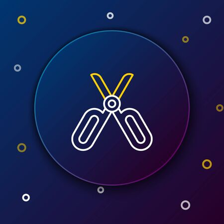 White and yellow line Scissors icon isolated on dark blue background. Tailor symbol. Cutting tool sign. Colorful outline concept. Vector Illustration
