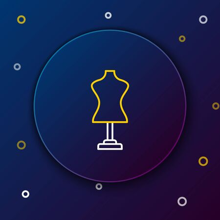 White and yellow line Mannequin icon isolated on dark blue background. Tailor dummy. Colorful outline concept. Vector Illustration