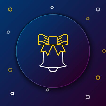 White and yellow line Ringing bell icon isolated on dark blue background. Alarm symbol, service bell, handbell sign, notification symbol. Colorful outline concept. Vector Illustration