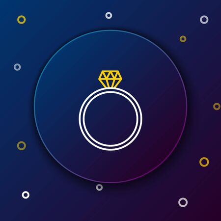 White and yellow line Diamond engagement ring icon isolated on dark blue background. Colorful outline concept. Vector Illustration