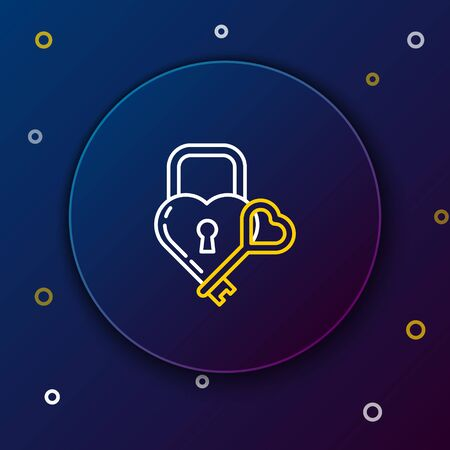 White and yellow line Lock in the shape of a heart and key icon isolated on dark blue background. Locked Heart. Love symbol and keyhole sign. Colorful outline concept. Vector Illustration