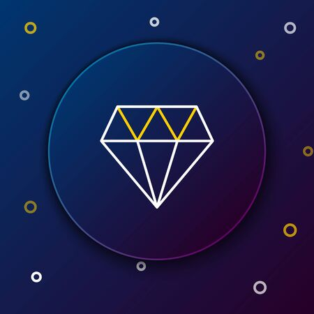 White and yellow line Diamond icon isolated on dark blue background. Jewelry symbol. Gem stone. Colorful outline concept. Vector Illustration