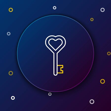 White and yellow line Key in heart shape icon isolated on dark blue background. Colorful outline concept. Vector Illustration Illusztráció