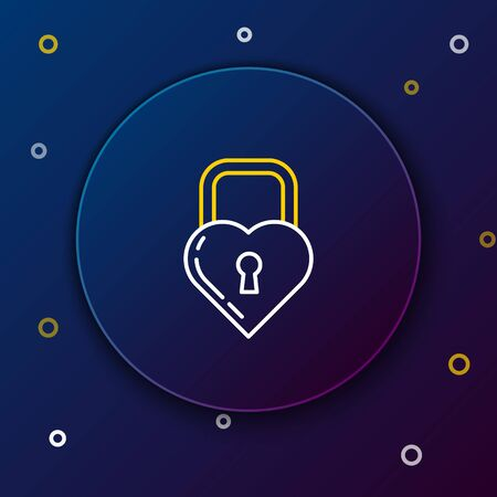 White and yellow line Castle in the shape of a heart icon isolated on dark blue background. Locked Heart. Love symbol and keyhole sign. Colorful outline concept. Vector Illustration Illusztráció