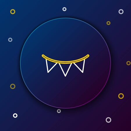 White and yellow line Carnival garland with flags icon on dark blue background. Party pennants for birthday celebration, festival and fair decoration. Colorful outline concept. Vector Illustration