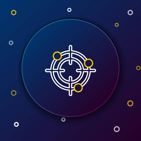 White and yellow line Target sport for shooting competition icon on dark blue background. Clean target with numbers for shooting range or pistol shooting. Colorful outline concept. Vector Illustration