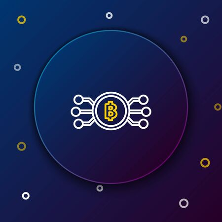 White and yellow line Cryptocurrency bitcoin in circle with microchip circuit icon on dark blue background. Blockchain technology, digital money market. Colorful outline concept. Vector Illustration 일러스트