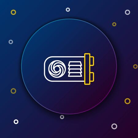 White and yellow line Mining farm icon on dark blue background. Cryptocurrency mining, blockchain technology, bitcoin, digital money market, wallet. Colorful outline concept. Vector Illustration Illustration